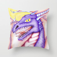 Dragon Throw Pillow by Susaleena