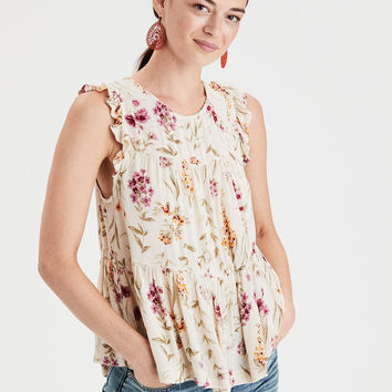 AE High Neck Shell Top, Cream