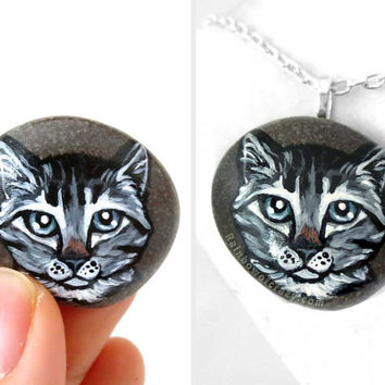 Gray Tabby Cat Jewelry, Pet Portrait Necklace, Memorial Pendant, Beach Stone, Animal Painting, Cat Art, Pet Loss