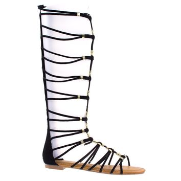4dc7eceef66b9 Magical13S By Bamboo Gladiator Flat Open Toe Strappy Sandal