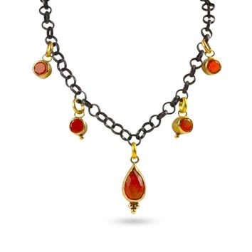 ALL NEW 22k Gold, Carnelian and Silver Smoke and Flame Necklace