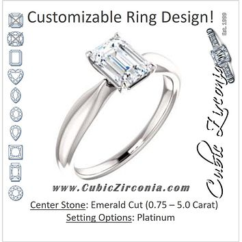 Cubic Zirconia Engagement Ring- The Nyah (Customizable Emerald Cut Solitaire with Tapered Bevel Band)