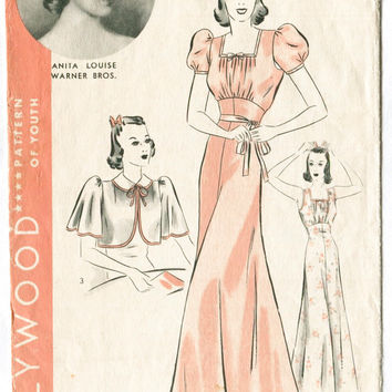 1930s 1940s lingerie pattern Hollywood 1687 gown negligee + capelet, bow detail  size 12 Bust 30