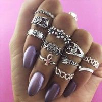 Hot Sale Fashion Women Retro Sun Moon Stars Flower Leaves Rings 11PCs/Set I13295-1