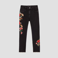FLORAL FLARED JEANS