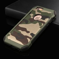 2 in 1 Army Camouflage Case For iphone 7 6 6s Plus SE 5 5s 5G 4 4s Armor Case Fashion Hybrid Hard PC + Soft TPU Protective Cover