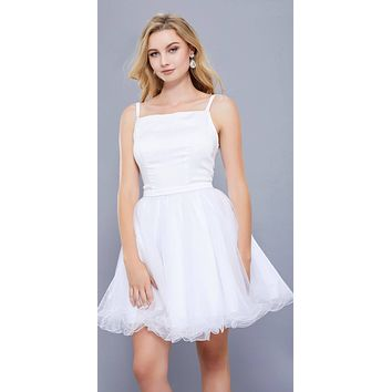 Straight Neck Short Poofy Homecoming Dress Spaghetti Strap White