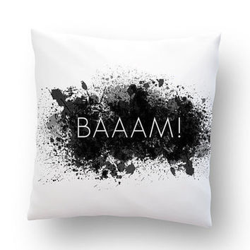 "BAAAM! Abstract minimalism. Monochrome throw pillow. Hand painted cotton pillow cover. 20"" x 20"""