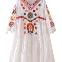 Mori Girl Embroidery Loose Casual Bohemia Linen Dress For Women