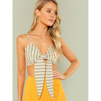 Stripe Tie Front Cami Crop Top