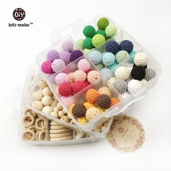baby teether Nursing Jewelry Combination package Crochet beads blending natural geometry wood beads creative Wooden teether
