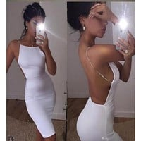 Hot Sale Sexy Dress 2 Color Solid Black White Summer Dresses Slash Neck Sequin Chain Knee Length Bodycon Backless Dress