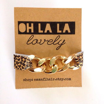 Gold Chain Leopard Print Cheetah Arm Candy Hair Tie Curb Pony Jewelry Stretch Elastic Fold Over Embellished Gift Girls