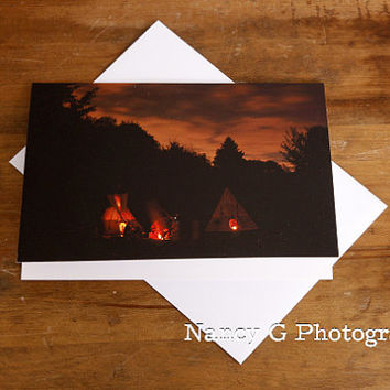 "Greeting Card, Stationary, Native American Indian, Tepees, Blank Card, 5""x7"", Note Card, Greeting Cards, Paper Goods, Nancy G Photography."