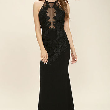 Just for Tonight Black Lace Maxi Dress