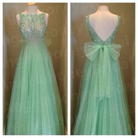 2015 Mint long Prom Dresses Empire High Beaded Bodice Evening Dresses Wedding Party Dress V-Cut Backless Pagneat Gowns Custom made Fashion