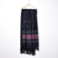 Vintage Huge Tribal Blanket Shawl / Hippie Bohemian American Native Ethnic Fringe Style