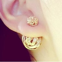 Twisted Golden Ball Fashion Ear Cuffs (Reversible Wearing) - LilyFair Jewelry