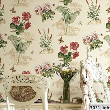 beibehang Retro American Village Garden Birds Wall paper Bedroom Living Room Sofa Background Restaurant Nonwoven Pure Wallpaper