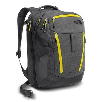 Surge Backpack in Asphalt Grey White Heather & Blazing Yellow by The North Face