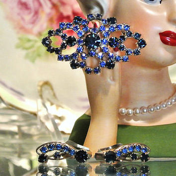 1950s STAR Austria Austrian Rhinestone Demi Parure Brooch Earrings Set Mid Century Designer Jewelry Sapphire Cobalt Blue Wedding Christmas