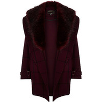 Red check faux-fur trim coat - faux fur coats - coats / jackets - women