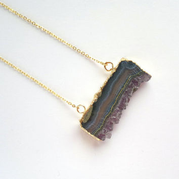 Gold Dipped Amethyst Slice Necklace Amethyst Rough Raw Purple Stone Crystal Pendant Amethyst Druzy Cluster Amethyst Jewelry Boho Pendant