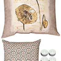 "Manual Woodworkers SLNLHB Natural Life Honey Bee Reversible Indoor Outdoor Pillow 18""x18"" with 6-Pack of Tea Candles"