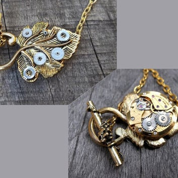 "The ""Golden Leaf of Time"" Clockpunk Steampunk Reversible Necklace Watch Movement & Antiqued Brass Leaf  Pendant on Brass Cable Link Chain"