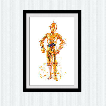 Star Wars C3PO watercolor print C3PO art poster Star Wars decor Home decoration Kids room wall art Nursery room decor Star Wars poster W653