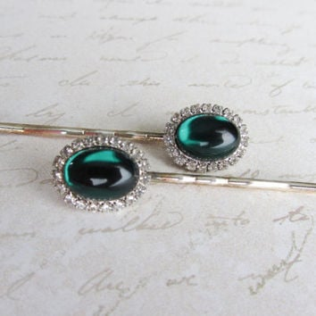 Vintage Rhinestone Hair Pins Green Hair Jewelry Bobby Pin Emerald