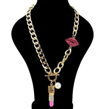 Lips and Lipstick Chain Necklace