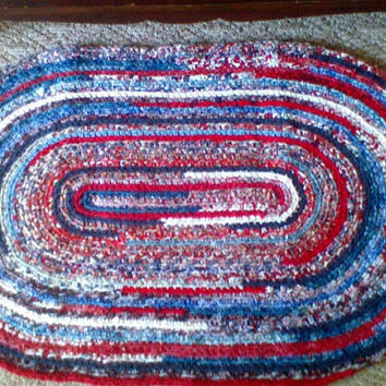 Crocheted Oval Rug from new fabrics  46 x 29 in Red White and Blue