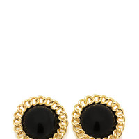 chain-trim-dome-earrings GOLDBLACK - GoJane.com
