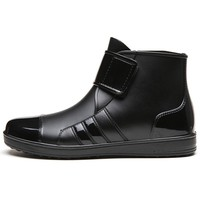 Men's black rubber ankle rain boots