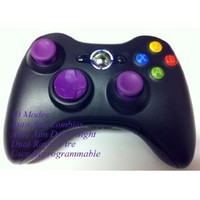 10 Modes! Purple D-pad, Thumb Sticks, Led! Black Xbox 360 Modded Rapid Fire Wireless Controller