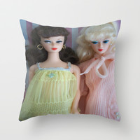 Barbie lingerie set Throw Pillow by Vintage  Cuteness