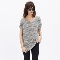 Linen Side-Vent Tunic Tee in Stripe
