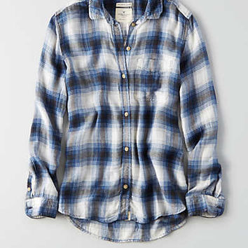 AEO Ahh-mazingly Soft Plaid Shirt , Blue