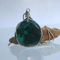 Silver wire wrapped Azurite pendant free form shape natural mineral with necklace
