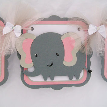 elephant baby shower banner, pink chevron, its a girl banner, pink, white and gray  READY TO SHIP