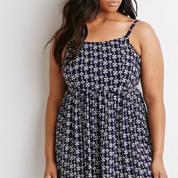 Plus Size Abstract Print Babydoll Dress