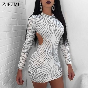 ZJFZML 2018 Spring Open Back Sexy Party Dress Women Silver Sequins Long Sleeve Sheath Dress White O-Neck Zipper Party Club Dress