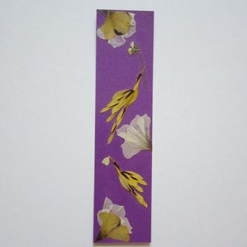 "Handmade unique bookmark ""Working day"" - Pressed flowers bookmark - Unique gift - Paper bookmark - Original art collage."