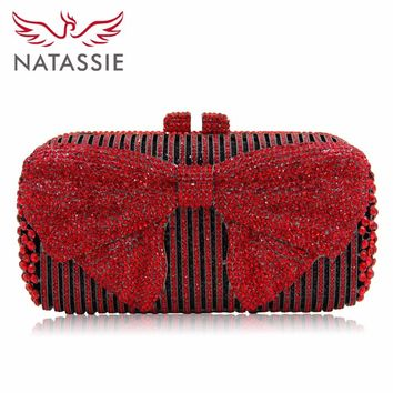 Natassie Brand Women Luxury Crystal evening Bag Bow Knot Style Wedding Clutches With Metal Shoulder Chain