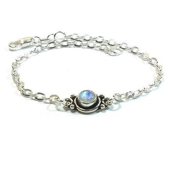 Sterling Silver  Genuine  Moonstone  Bracelet , Gift For Her