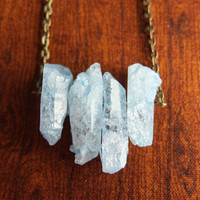 Blue Crackle Quartz Points Necklace