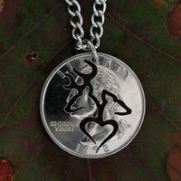Buck and doe heart Silhouette quarter hand cut coin by NameCoins
