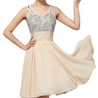 Drasawee V Neck Sequins Beaded Short Prom Dress For Junior Brithday Party Champagne US6