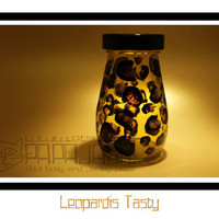 Leopardis Tasty - Hand Painted Storage Jar, Decorative Glass Art, Pecans Canister